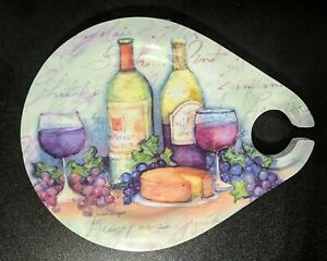 "Set of 4 Glossy 11""x8.75"" Melamine Plates with Wine Glass Holder Keller-Charles"