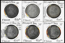 SIX PERU 8 REALES 1775-1816 ATTRACTIVE BIG SILVER COINS (CV ~$950 USD) NO RSRV