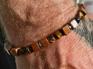 Mens/Ladies Tiger Eye Natural Stone Friendship  Surfer Style Wood Tiger Eye