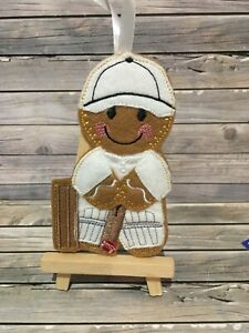 Felt embroided gingerbread cricketer