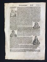 1493 Nuremberg Chronicle by Hartmann Schedel Single Folio Manuscript Page CCXLVI