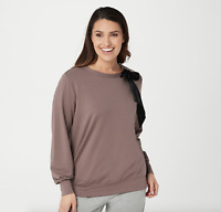 AnyBody French Terry Pullover with Neck Bow - Smokey Taupe - Medium