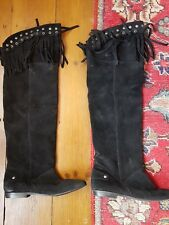 river island black over the knee suede boots