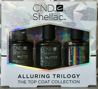 CND SHELLAC ALLURING TRILOGY Pick Matte Glitter Pearl Top Coat or Boxed Set NEW