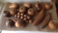 VINTAGE WOOD CARVED WOODEN FRUIT GRAPES BANANA LOT OF 14