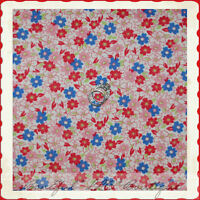 BonEful Fabric FQ Cotton KNIT Pastel Pink Blue Red Calico Flower Green Leaf Dot