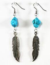 Tibetan Silver Feather Blue Turquoise Gemstone Earrings