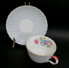 Aynsley Tea Cup and Saucer Set Swirled Shaped Pale Blue with Bouquet Fluted