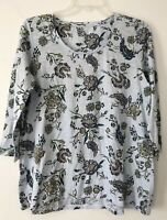 NEW J. JILL L XL Petite 3/4 Slv Shirred-Back Knit Top Floral Cotton Blue/Purple