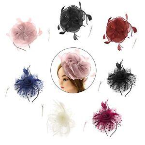 1x Fascinator Mütze Hut für Frauen Party Stirnband Hochzeit mit Haarspange