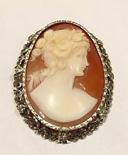 Stunning Two Colour Gold & Silver Antique Large Cameo Brooch
