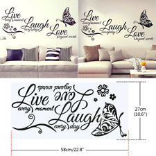 Live Laugh Love Quotes Butterfly Wall Stickers Art Room Decal Home Room Decor JT