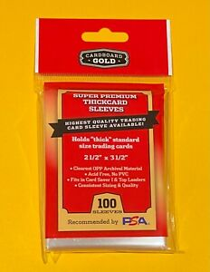 "100 Cardboard Gold Super Premium Thick Card Sleeves 2 7/8"" x 3 7/8"" - CBG 🔥"