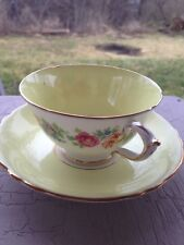 Paragon Flowers on Yellow Fine Bone China Gold Leaf Trim Cup & Saucer 1950s