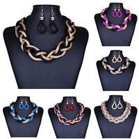 Women's Fashion Jewelry Chain Choker Chunky Statement Bib Necklace Earrings Set