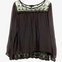 Carla Conti Women's Semi-sheer Lined Top Lace Silk LS Elastic Cuffs Brown Sz L