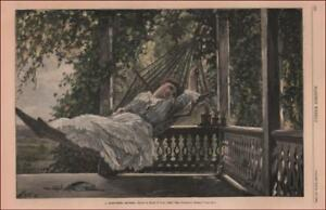 HAMMOCK ON PORCH, SUMMER DAY DREAMING, hand colored engraving antique 1883*