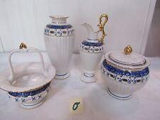 White w/Royal Blue and Gold: Sugar Bowl , Creamer, Vase and Basket