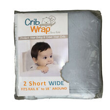 """Trend Lab Crib Wrap Rail Covers Gray fleece 2 Short Wide around fits 8"""" to 18"""""""