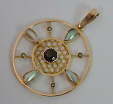 Edwardian 9ct Rose Gold Garnet and Pearl Circular Disk Pendant t0764