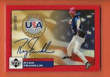 2000 UD ROOKIE UPDATE USA A TOUCH OF GOLD RYAN FRANKLIN ON CARD AUTO #d 220/500