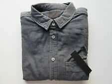 NWT Joe's Jeans Charcoal Gray Round Single Pocket Relaxed Button Up Shirt S $169