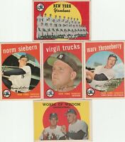 1959 TOPPS BASEBALL lot of 5 YANKEES w/ #510 hi# team card, #308 #417 #326 #383