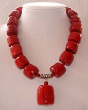 "New Amazing Red Cylinder Coral Gemstone Necklace 18"" AAA+++"