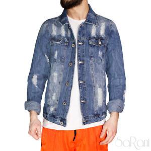 Giubbotto Uomo di Jeans Giacca Strappato Denim Cotone Casual Rotture Slim Fit