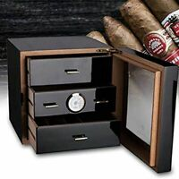 3 Drawer Cigar Humidor Black Gloss Finish Cedar Cabinet