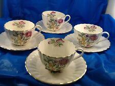 ROYAL WORCESTER INDIAN SPRAYS set of 4 teacups & saucers MADE IN ENGLAND vintage