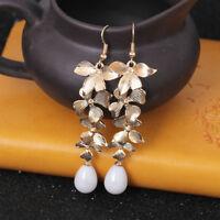 1 Pair Women Elegant Gold Orchid Matte Gold Flower Long Dangle Hook Earrings