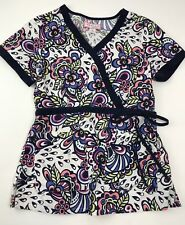 Koi Kathryn Scrub Top #115LF Shirt Uniform Floral Faux Wrap Women's S Small