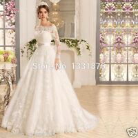 Vintage Long Sleeve Lace Wedding Dress Bridal Gown With Beaded Sash Custom