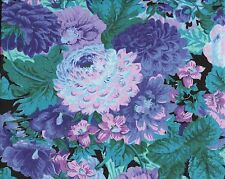 Floral Quilt Fabric -Large Pink Teal Violet Flowers on Black-Peter Pan 11/12 Yd