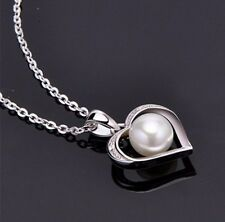 """Sterling Silver Freshwater Pearl Heart CZ Pendant Necklace 18"""" Chain Gift PE4"""