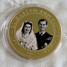COOK ISLANDS 2007 DIAMOND WEDDING PHOTO PORTRAIT GOLD PLATED PROOF $1 c