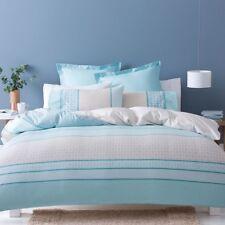 Blue Beige Teal White Stripe Quilt Doona Cover Set Elegant Bed Cover QUEEN