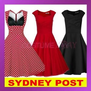 50s Rockabilly Vintage Evening Retro Pinup Swing Housewife Floral Polka Dot Dres