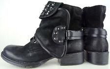 MJUS Halbhohe Stiefelette Leder Biker Boots Damen Bootie Schuhe Black Gr.39 NEU