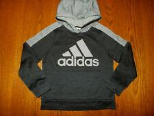 Adidas Black & Gray Hooded Sweatshirt Boys Small 8 Excellent Condition