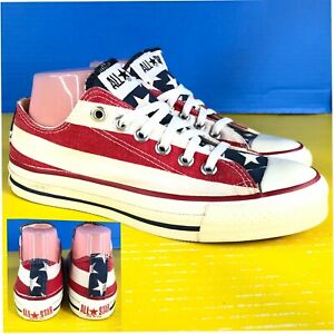 Vintage Made In The USA Converse All Stars Shoes size 6 Stripes & Stars USA Flag