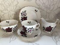 vintage bone china colclough English Bone China 1960s Roses Tea Set 5 Pieces