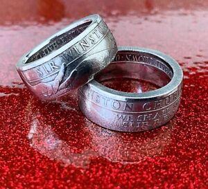 Commemorative Gibraltar Half Crown Coin Ring - We Shall Never Surrender