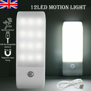 12 LED Motion Sensor Light Night PIR Wireless Battery Powered Cabinet Stair Lamp
