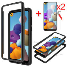 For Samsung Galaxy A21 Case Bumper Hybrid Phone Cover HD Glass Screen Protector