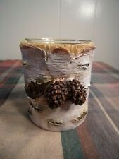 Realistic Hand Painted Birch Tree Pinecone Voltive Candle Holder