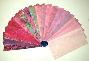 """40 x Batik Fabric Quilting Sewing Layer Cakes 10"""" x 10"""" Squares Pink"""