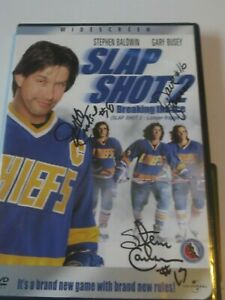 THE HANSON BROTHERS SIGNED SLAPSHOT 2 DVD COVER W/PROOF