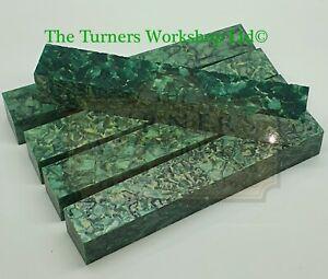 WOOD-TURNING - 5 x Acrylic Pen Blanks Green Crush